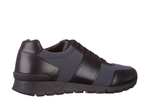 Prada-mens-shoes-leather-trainers-sneakers-golf-black