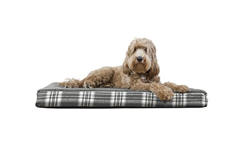 FurHaven Pet Dog Bed | Deluxe Orthopedic Faux Sheepskin & Plaid Pet Bed for Dogs & Cats, Smoke Gray, (Sheepskin Orthopedic Foam)