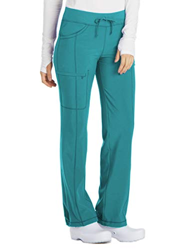 (Cherokee Women's Infinity Low Rise Straight Leg Drawstring Pant, Teal Blue, Large)