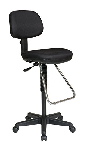 Office Star Pneumatic Drafting Chair with Casters and Chrome Teardrop Footrest, Fabric Stool and Back - Dc430 Economical Chair