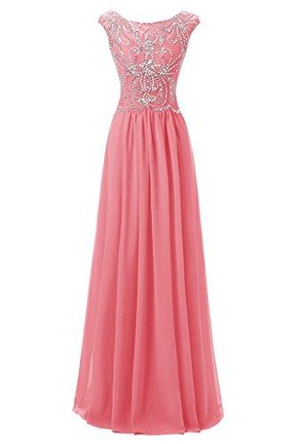 Wassermelone Chiffon Elegant Damen Partykleid Rundkragen Ballkleid Promkleid Abendkleider Ivydressing w8fqII