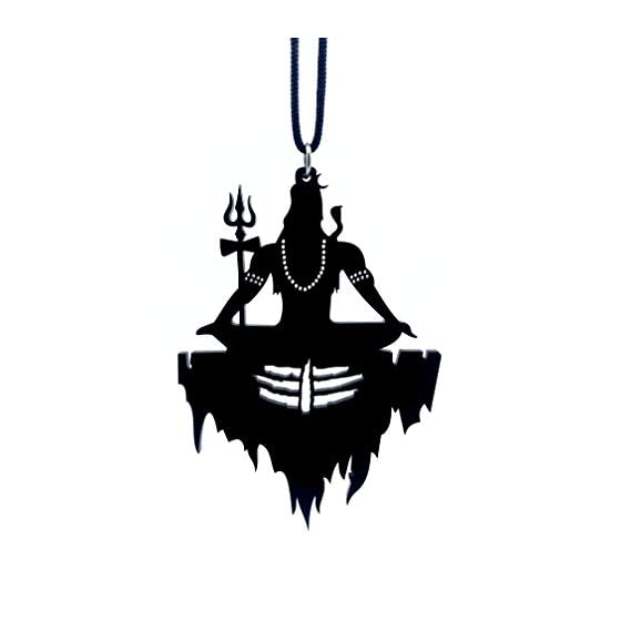 Clean & Clever Car Logo Lord Shiva on Mount Kailash with Tilak Hanging Spiritual Ornament Decor for Rear View Mirror, 4