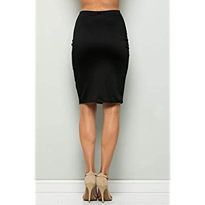 Junky Closet Women's High Waist Stretchy Office Midi Pencil Skirt (Made in USA): Clothing