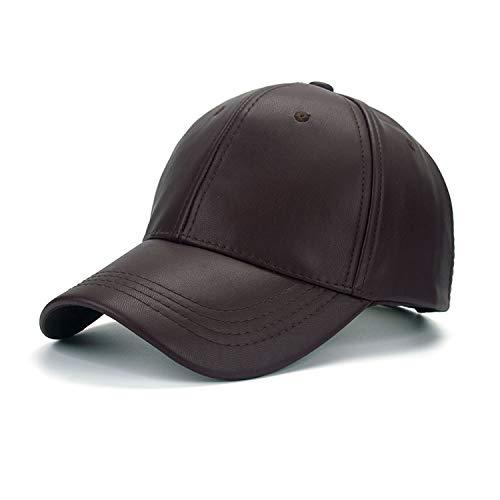 LONIY 2016 New Unisex Cap PU Solid Color Hip HOP Snapback Baseball Cap Adjustable HAT B325,Brown -