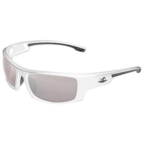 Safety Glasses, Bullhead Safety Eyewear BH9187 Dorado Safety Glasses with Silver Mirror Lenses, Shiny White Frames, 1 Pair