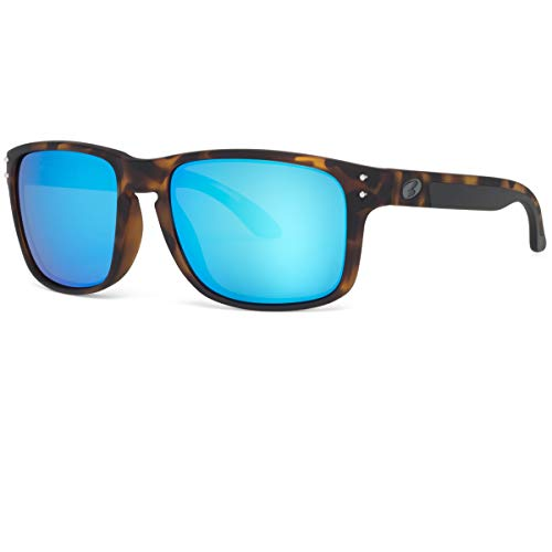 BNUS Italy made Classic Sunglasses Corning Real Glass Lens w. Polarized Option (Tortoise Rubber/Blue Flash Polarized (M), Polarized ()