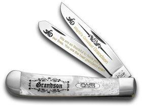 ケースXXホワイトパールCorelon World 's Greatest Grandson 1 /600トラッパーポケットナイフナイフ B0762CMHG3