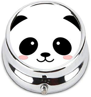 - Smiling Cartoon Panda Personalized Durable Stainless Steel Pill Box Jewelry Case