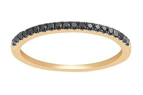 Prism Jewel Round 0.20Ct Black Diamond 1.8 mm Half Eternity Anniversary Ring in 14k Yellow Gold, Size 6.5 by Prism Jewel