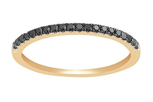 Prism Jewel Round 0.20Ct Black Diamond 1.8 mm Half Eternity Anniversary Ring in 14k Yellow Gold, Size 6.5 by Prism Jewel