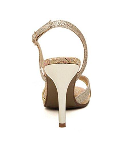Glissement L'or Sizewomens La Sangle Personnalité Hetao Rome Cheville Fille De Cadeau Haut Talon Pompes Or Sandales Sandales Dames De Escarpins q4w6I