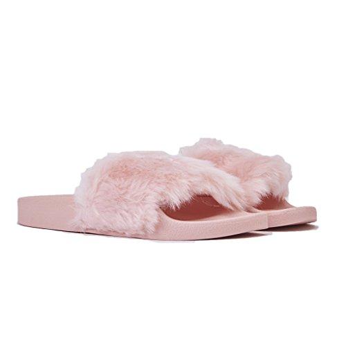 Windsor smith Ciabatte Donna, Ivy/Sherbet, fascia CON Pelo e Logo, Colore Rosa, In Gomma, Nuova Collezione Primavera Estate 2018