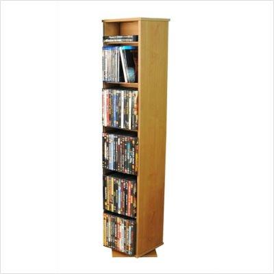 Venture Horizon Revolving Media Library w Adjustable Shelves in Oak Finish
