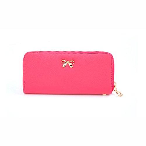 Wallet,toraway New Hot Women Korean Cute Bowknot Purse Wearable Wallets Wristlet Handbags (Hot Pink)