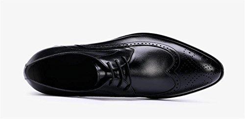 a Foderato Lacci Business Scarpe pelle in britannico Stringate stile Da formale 39 da 45 Nero uomo Casual gomma black Abito in WBWvAUY