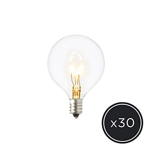 G16.5 Clear Globe Bulbs - E12 Base, 30 Pack, Warm White, 5W, Outdoor or Indoor Use, Candelabra Size ()