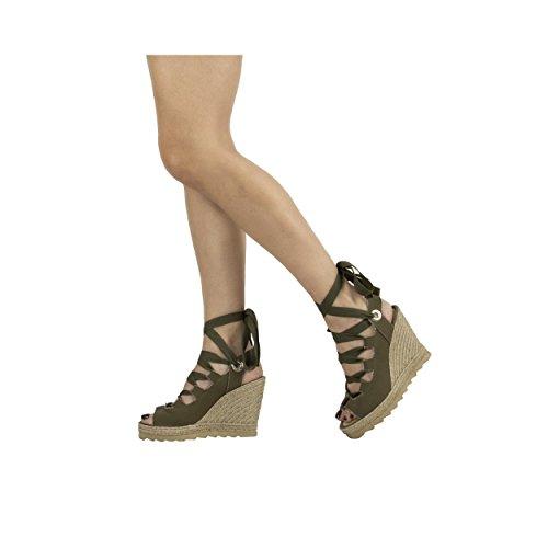 Sandales Femme Espadrilles Ibiza Compensées MTBALI Kaki Modèle Vintage Vert q5PwvnA