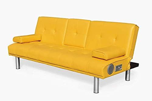 Premium Bluetooth Funda de piel sintética 3 plazas Sofá cama ...