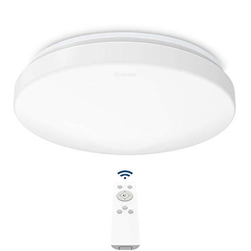 Anten 24W Plafón LED de Techo Regulable con Mando a Distáncia, Lámpara Techo Led Regulable para Dormitorio, Salon…