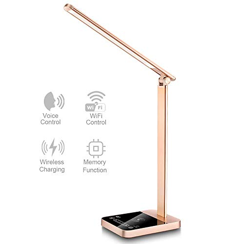 【New Version】Smart LED Desk Lamp with WiFi, Wireless Charger Eye Caring Desk Light 3 Color Modes 6 Brightness Levels Timer Memory Function USB Port Compatible for Alexa Echo Dot Google Home