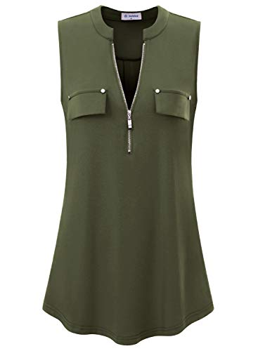 (Bulotus Sleeveless Tunics for Women Tank Tops for Legging (Medium, Army Green))