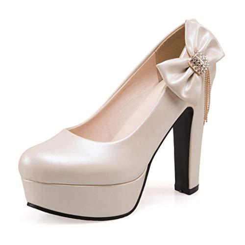 GanQuan2018 Women Platform High-Heeled Shoes Round Toe Slip on High Chunky Heel Side-Bowknot Office Pumps