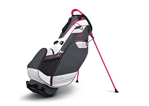 Callaway Golf Stand Bag Hyper Lite 3 Stand Bag Double Strap, Titanium/White/Pink
