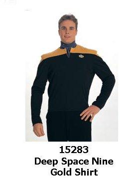 Star Trek Deep Space Nine Deluxe Uniform Costume Shirt (Gold) Size L]()