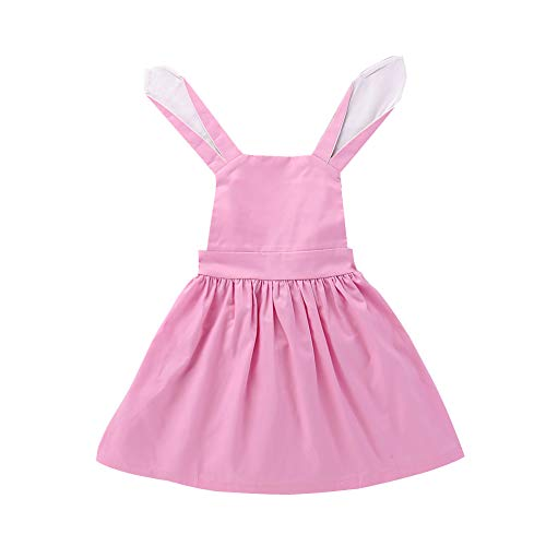 (YOUNGER TREE Toddler Baby Girl Easter Clothes Ruffle Fly Sleeve Bunny Print Party Casual Cute Dress Outfit (3-4T, Pink))