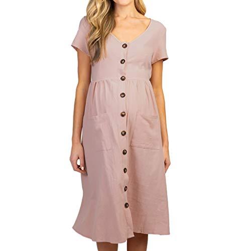 LEXUPA Women's Maternity Fashion Button Solid V Neck Short Sleeve Long Dress Pink