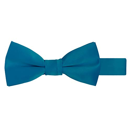 Jacob Alexander Boy's Kids Pretied Banded Adjustable Solid Color Bowtie - Pacific Blue ()