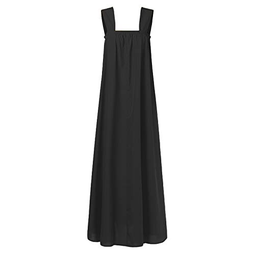Women Maxi Long Dress Summer Sleeveless Square Neck Strap Party Dress Bohemian Holiday Plus Size,Black,XXXL (Pulls Knobs Canada And)