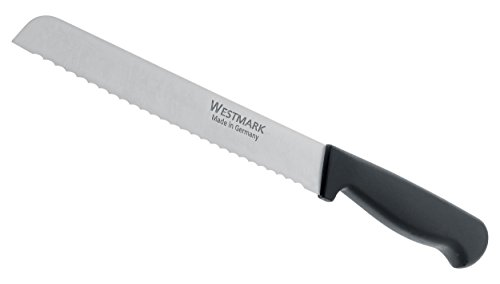 Westmark Germany Stainless Steel Bread Knife, 7.2-inch (Black) 1 MADE IN GERMANY HIGH QUALITY KITCHENWARE: Westmark's Bread Knife is among the best in the world and is rated to be one of the best kitchenware brands available today. MATERIAL: Each product is made using a high quality stainless steel blade with a polypropylene handle. See below for more details. EASY AND READY TO USE: This easy to use product can thoroughly cut through any kind of bread, fruit, vegetable, meat and much more!Equipped with an ergonomic handle, Westmark's product ensures a secure grip making the bread knife efficient and comfortable to use.