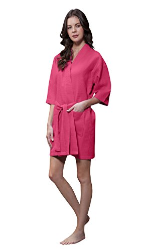 Lightweight Knee Length Waffle Kimono Bridesmaids Spa Robe (Small/Medium, Fuchsia)