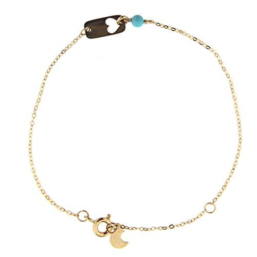 18K Yellow Gold Turquoise paste Bead open Heart Plaque Bracelet 6.5 inches with extra ring at 5.5 inch by Amalia