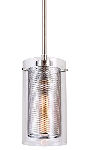 Kira Home Jet 8.5 Modern Dual-Shade Pendant Light with Glass Cylinder and Metal Inner Shade, Adjustable, Chrome Finish