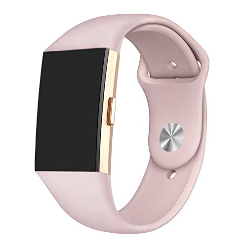 GHIJKL Sports Band Compatible Fitbit Charge 2, Soft Silicone Replacement Wristband for Fitbit Charge 2,Women Men, Large, Sand Pink