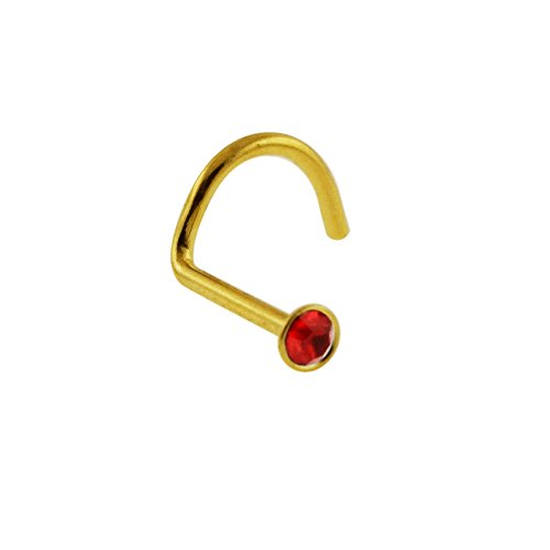 Red Gemstone 20 Gauge Gold Anodized 316L Surgical Steel Nose Screw - Nose Stud Nose Piercing Jewelry (Ring Gem Nose Red)