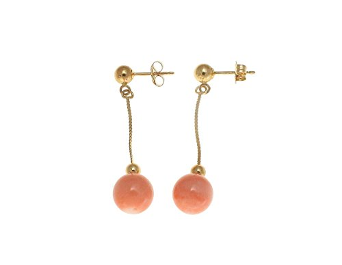 Genuine pink coral ball solid 14k yellow gold 7.3mm dangle earrings