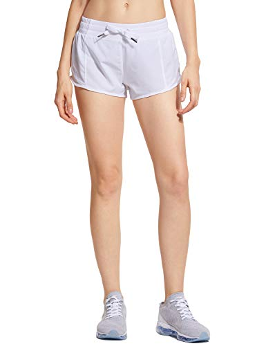 CRZ YOGA Women's Workout Running Sports Shorts with Pocket - 2.5''/4'' White - 2.5'' L(12)