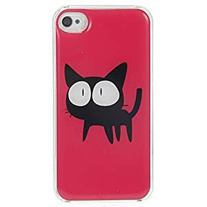 LZXBlack Kitten With Big Eyes Pattern Epoxy Hard Case for iPhone 4/4S
