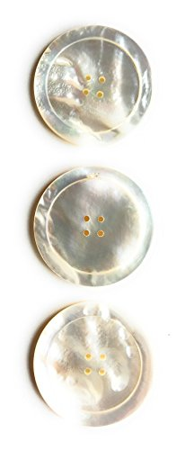 3 Premium Large Genuine Mother of Pearl Buttons with Rim Border- Ocean Pearl Buttons Set- White Color Shell . Sport-coats , Suits, Dres Etc. (THREE(3)) ()