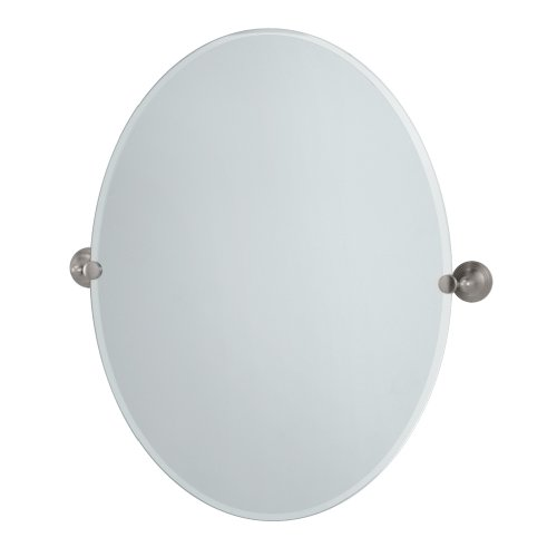 Gatco 4369LG Charlotte Large Oval Wall Mirror, Satin Nickel - Nickel Decorative Escutcheon