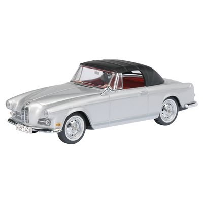 Schuco 1/43 BMW 503 Convertible Silver with Black Top and Red -