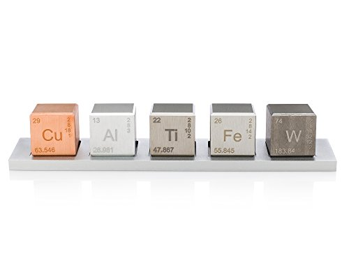 Element 1'' Cube Set (Tungsten Carbide, Copper, Titanium, Aluminum, and Iron Alloys) by Midwest Tungsten Service