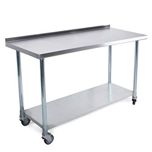 "ARKSEN Commercial Work Backsplash Galavanized Undershelf Storage Table with Stainless Steel Top and Wheels, 36"" x 24"""