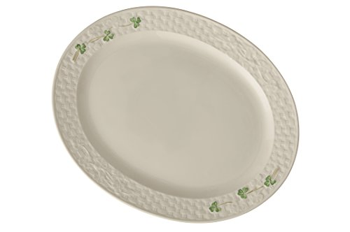 Belleek Pottery 1326 Shamrock 15-Inch Oval Platter, Large, White