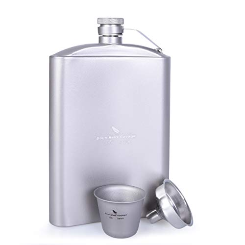 Yilan Trade Titanium Pocket Flagon 200ml/250ml Hip Flask with Funnel and Titanium Single Cup 15ml Outdoor Camping Travel Flat Liquor Flask Ultralight Wine Whiskey Pot (250ml Flagon+1 Cup)