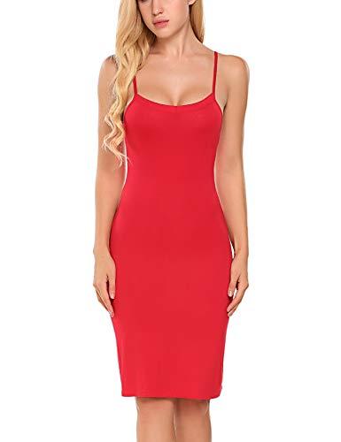 Avidlove Women Full Slips Cotton Blend V Neck Straight Dress Nightwear Red XL