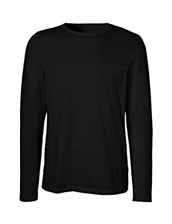 Green Cat Neutral Mens Long Sleeve T-Shirt, 100% Organic Cotton and Fairtrade Certified, Color Black, Size S